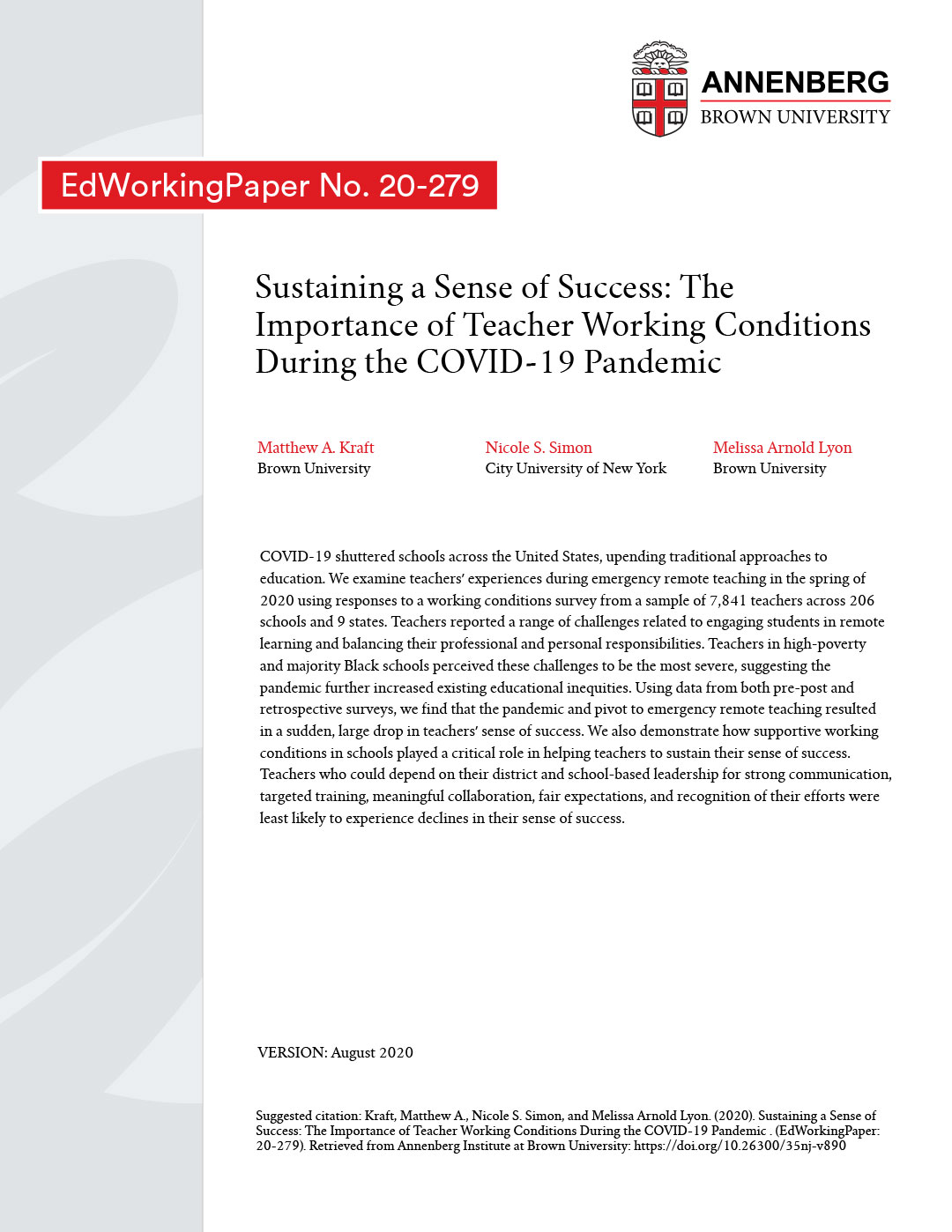 Sustaining a Sense of Success: The Importance of Teacher Working Conditions During the COVID-19 Pandemic
